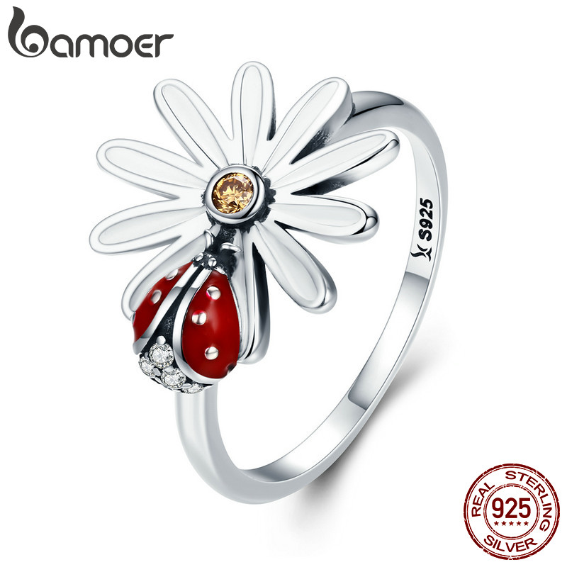 BAMOER Spring Collection 925 Sterling Silver Flower and Ladybug Wonderland Finger Rings for Women Sterling Silver Jewelry SCR284