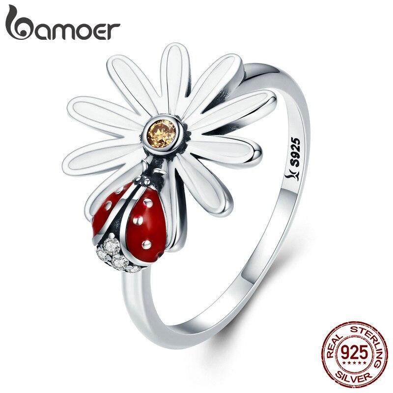 Bamoer printemps Collection 925 en argent Sterling fleur et coccinelle pays des merveilles bagues pour femmes en argent Sterling bijoux Scr284
