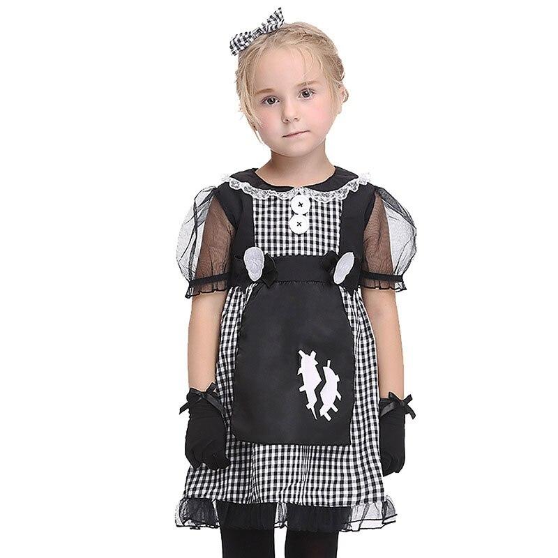 Gothic Kid Girls Halloween Horror Maid Costume Plaid Lace