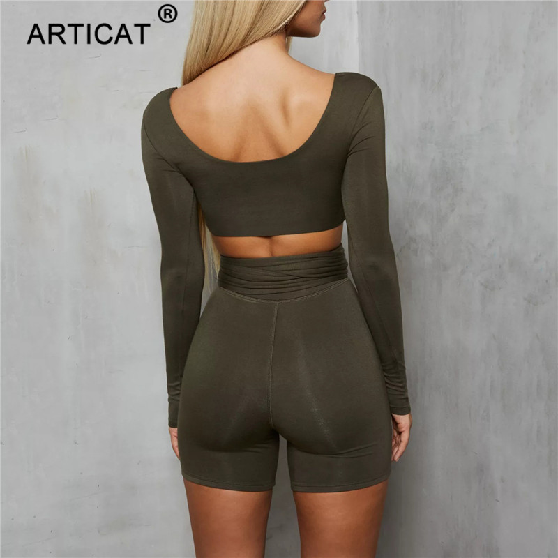Articat Long Sleeve Bodycon Rompers Womens Jumpsuit Two Piece Set Square Collar Bandage Short Playsuit Casual Christmas Overalls