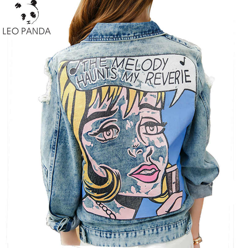 2019  Spring Autumn Vintage Funny Print Jean Jacket Women Ripped Hole Long Sleeve Bomber Jackets Casual Short Denim Jacket