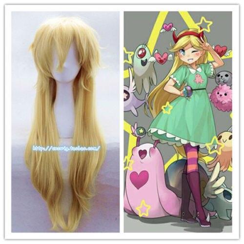 New Star Vs les Forces Du Mal Magique Princesse Cosplay Perruque Or Jaune Cheveux Longs Halloween
