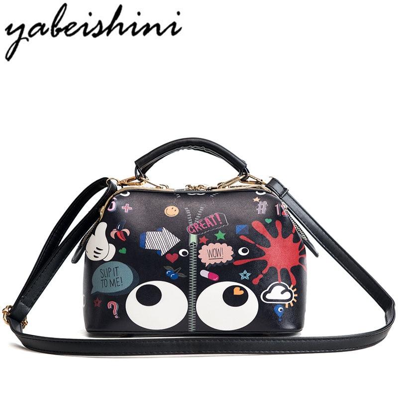 YABEISHINI 2018 New Women Cartoon Cute Doctor Bag Female Messenger Bag High Quality Leather Women Fashion Shoulder Bag S
