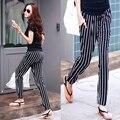 Summer vertical stripe harem pants loose big yards women pants casual pants feet