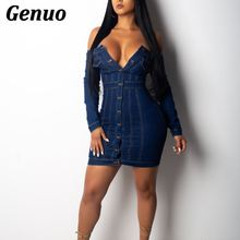 Genuo Women Lady Autumn Winter Dress Sexy Off the Shoulder Jeans Fashion Denim Button Mini Night Club Wear Oufits