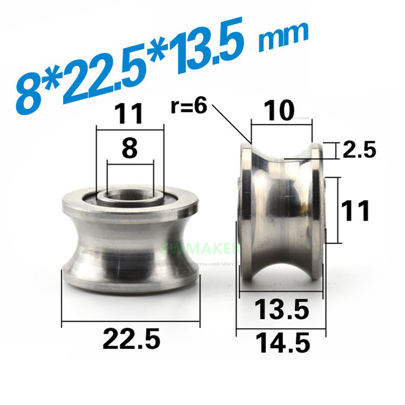 8 22 5 13 5mm bearing steel pulley U groove trapezoidal groove roller suitable for 12mm