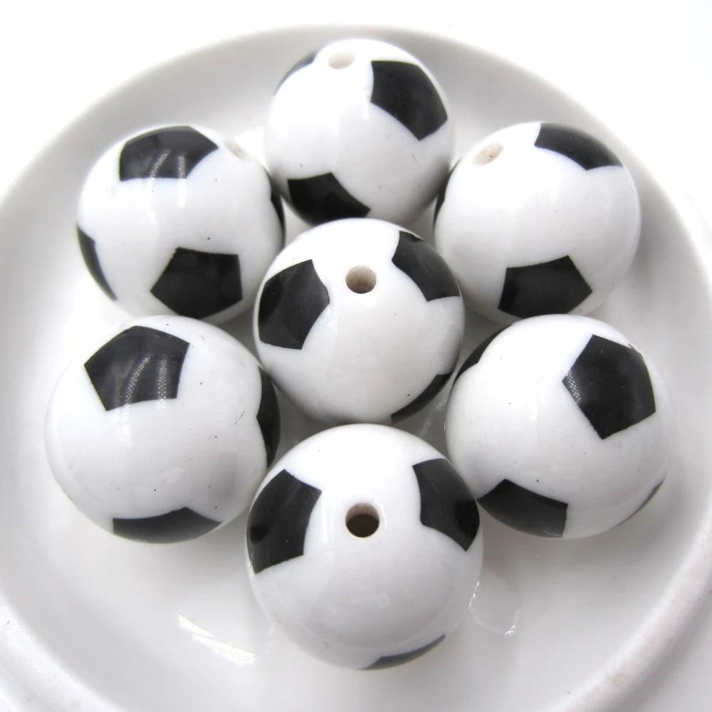 Football Acrylic Beads 20mm