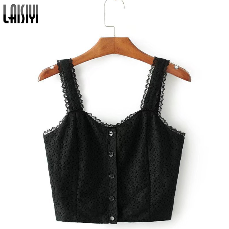 LAISIYI Casual Sleeveless Lace Crop Top Women Summer Tops 2017 Cami Solid Spaghetti Strap Tank Button Women Sexy Camis ASVE50069