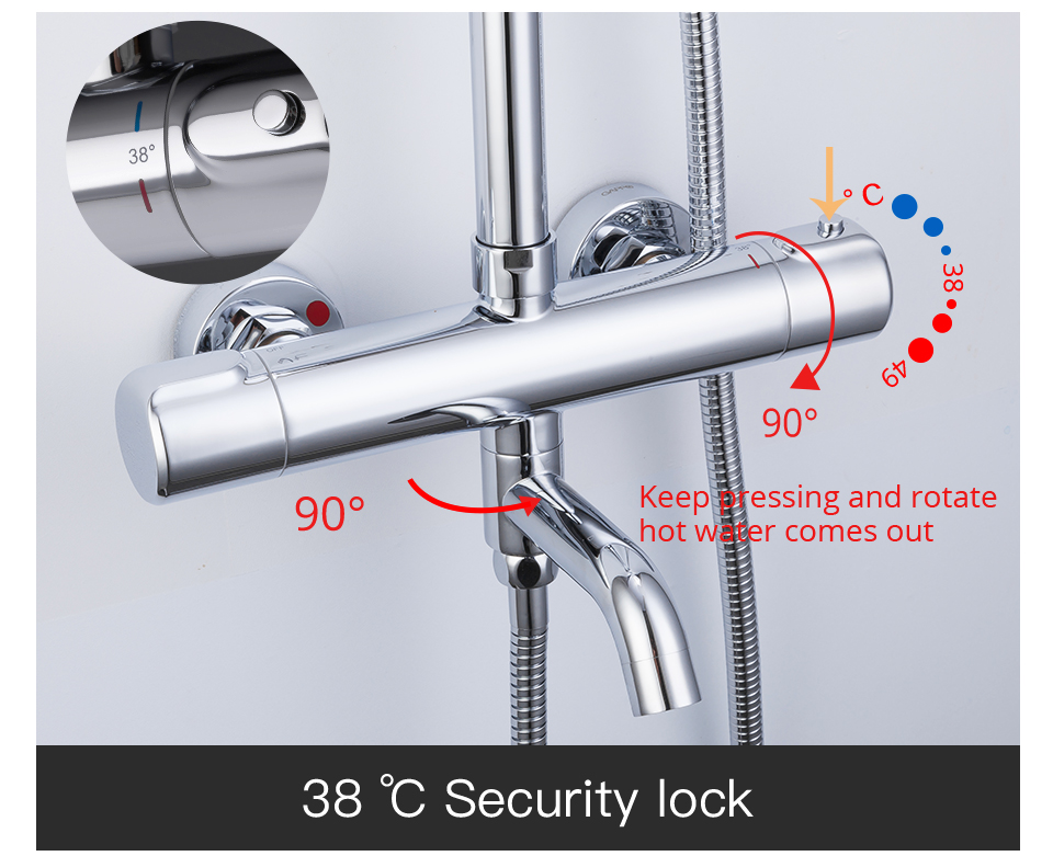 HTB1DJBpaUD1gK0jSZFGq6zd3FXaZ GAPPO thermostatic shower set rain shower set shower faucet hot and cold Shower faucet Bathtub thermostatic shower mixer