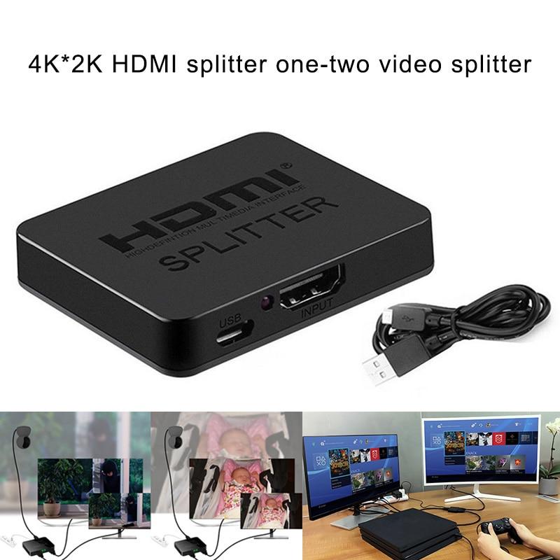 New Hot HDMI 1080p 4K 1x2 HDCP 3D Splitter Power Signal Amplifier Splitter For HDTV DVD PS3 Xbox