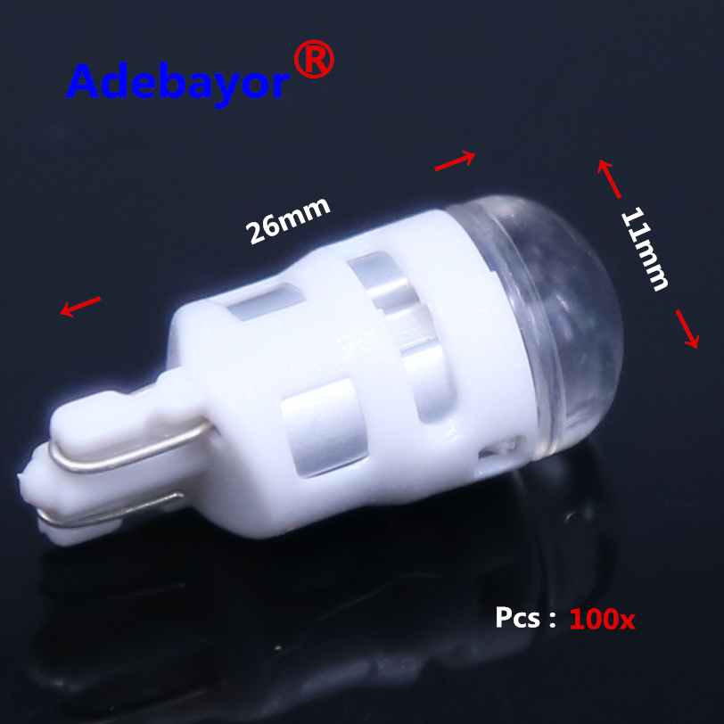 100X 12V Car Auto LED lamp 194 W5W 1SMD T10 1 LED SMD 3030 Wedge Free