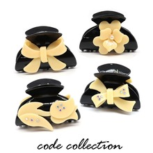 Fashion Acrylic Black Flower Pearl Bow Hair Claw Clip For Women Girl Hair Dryer Party Wedding Hair Jewelry Accessories Gift