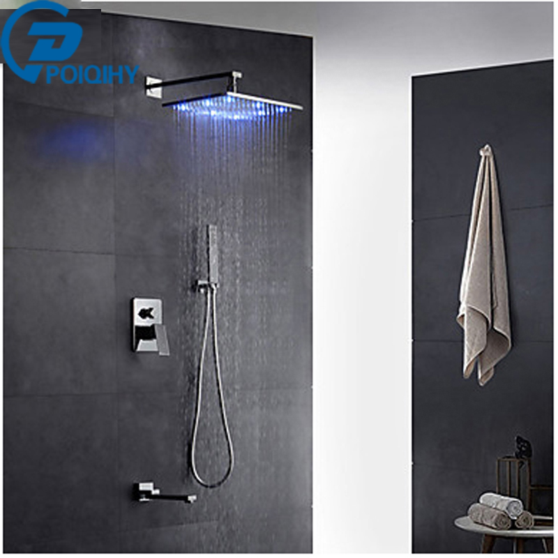 Modern Wall Mounted Led Rain Shower Brass Shower Head Pullout Spray with Brass Valve Single Handle Two Holes for Chrome poiqihy chrome rain