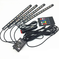 4pcs 2016 Multi Color Voice Sound Music Control Flexible Interior Decorative Atmosphere Neon Lamp LED Wireless