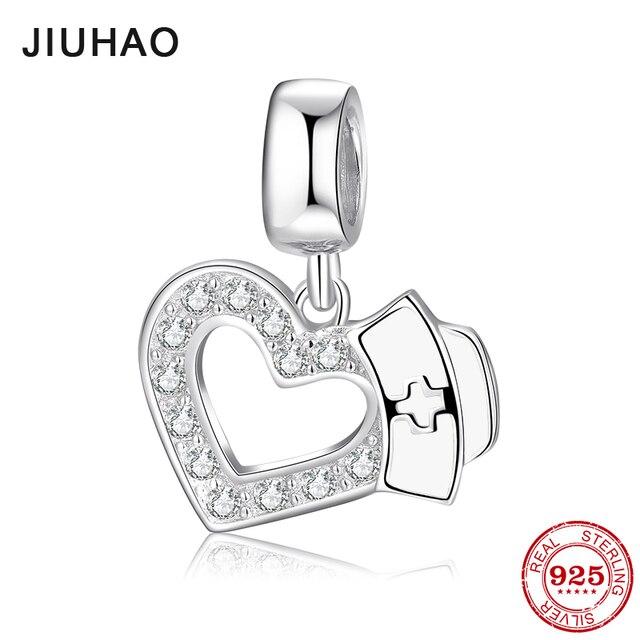 80f398fd5936e Save love 925 Sterling Silver Heart with Nurse Hat Enamel Charms fine  Pendants Fit Original Pandora Charm Bracelet Jewelry 2018