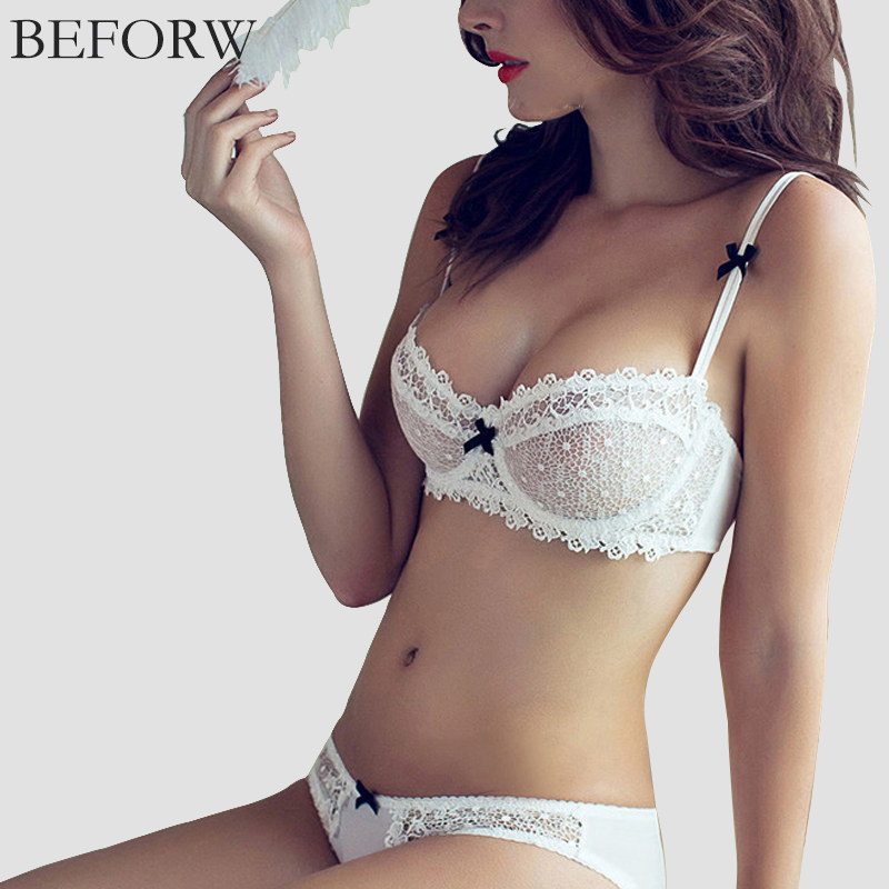 BEFORW Lingerie Sexy Lace Bra Set Brand Victoria Underwear Ultra-thin Transparent Women Bra Set Girl Sexy Bra And Panty Sets