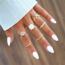 6pcs/set New Fashion Bohemia Personality Leaf Crown Gold Rings Set for Women Rhinestone Metal Jewelry Finger Ring Accessories