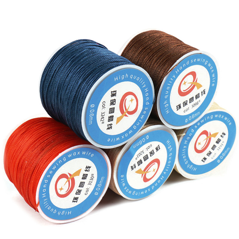 0.6mm Round Waxed Cord Wax String Linen Stitching Thread For Leather Craft Sewing DIY Jewelry Making
