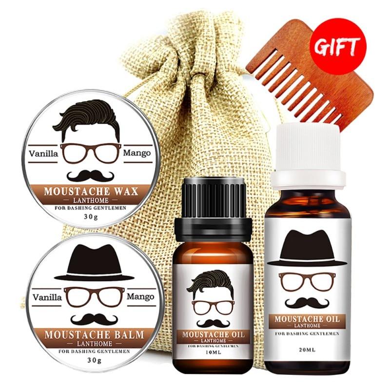 Lanthome 1 Set Gentleman Naturale Crescita della Barba Prodotti di Cera Olio Barba Cura Idratante Liscio Con Un Pettine/Bag