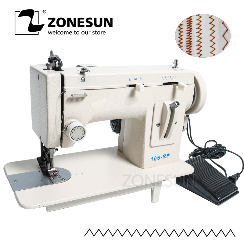ZONESUN 106 RP Household Sewing Machine Fur Leather Fell Clothes Thicken Sewing Tool Thick Fabric Material Reverse ZAG Stitch D