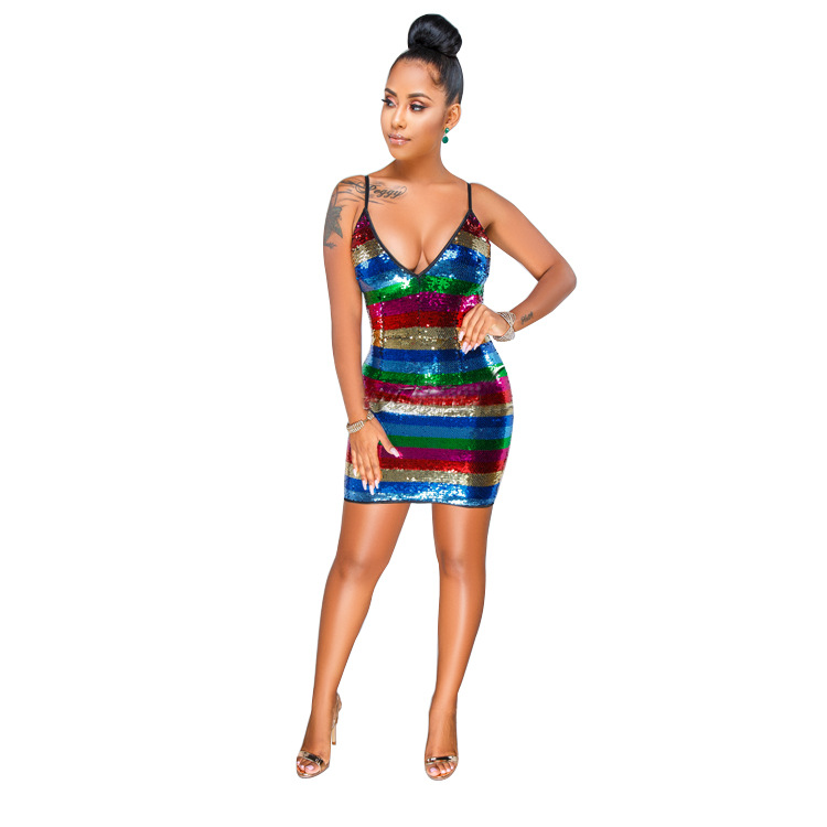 OMILKA 2018 Summer Women Spaghetti Strap V Neck Rainbow Striped Sequin  Dress Sexy Club Party Bodycon Shiny Bling Mini Dress-in Dresses from Women s  Clothing ... 80a879d20195
