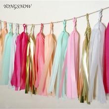5pcs Tissue Paper Tassels Garland Ribbon Curtain Bunting Party DIY Pompoms Flowers Balls Wedding Decoration Supply