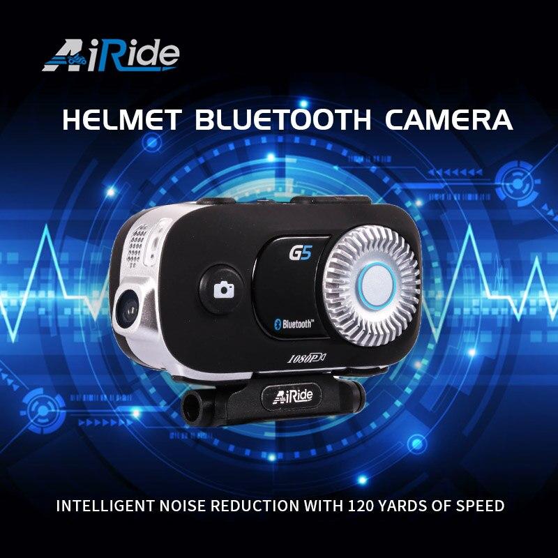 AiRide G5 500m 4 Riders Group Intercom HD 1080P Video Recorder Camera Motorcycle Bluetooth Intercom Helmet Headset