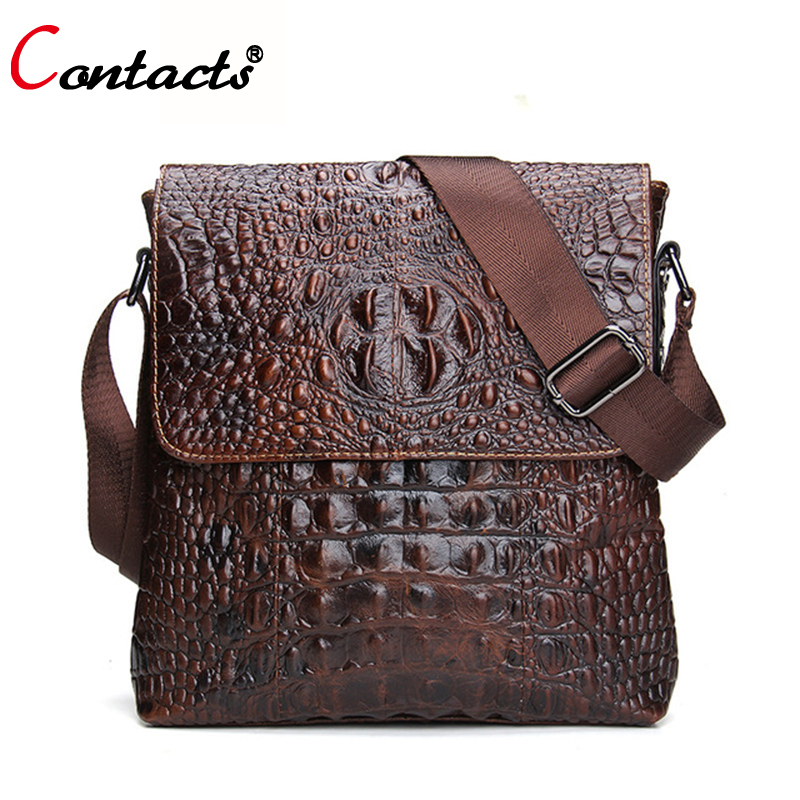 CONTACT S Genuine Leather Bags Men Messenge Bags Alligator Pattern Crossbody Designer Business Causal Cowhide men