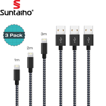 [3 PACK] USB Cable 5V 2.1 Fast Charging Lighting to USB Cable Suntaiho Nylon Braid USB Cable Data Charger Cable for iPhone 7