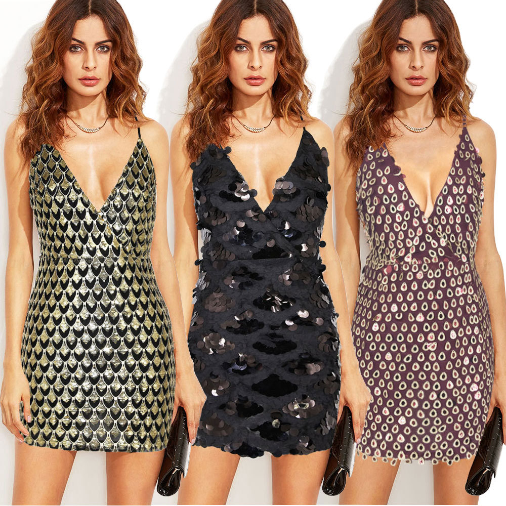 Women Sexy Dress Deep V Big Dew Glitter Dress Sequin Backless Dresses Club Party Cherrykeke Dress Holiday Party Ball Ropa Mujer