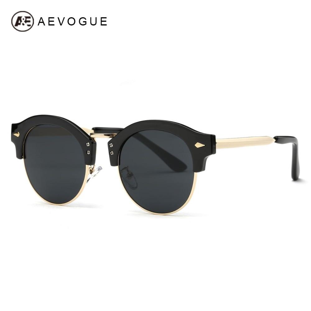 526b6f609c0262 Aevogue lunettes de soleil femmes marque designer date ronde semi-sans monture  lunettes de soleil vert placage métal cadre uv400 ae0417