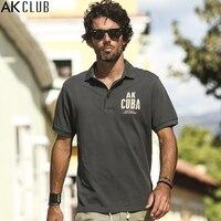 AK CLUB Men Polo Shirt Cuba Libre Bead To Cotton Polo Letter Print Short Sleeve Polos