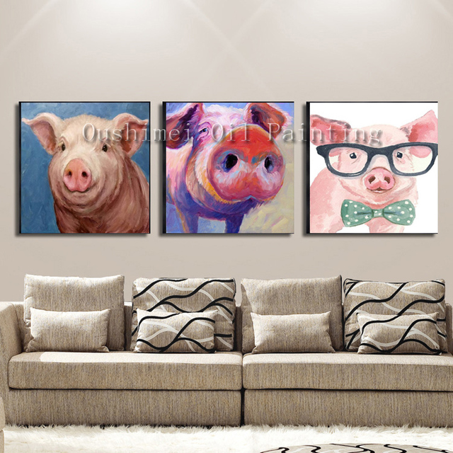 handmade wall art modern abstract animal pigs series oil painting