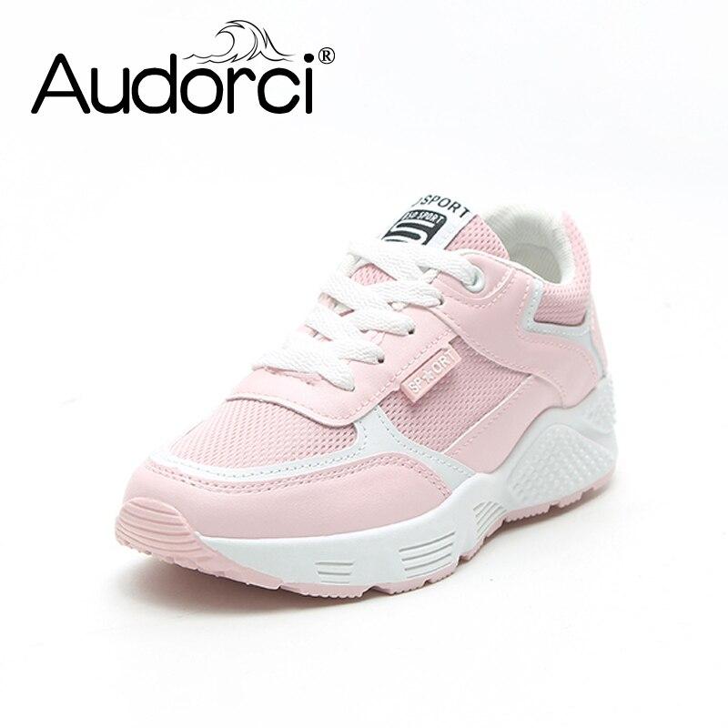 Audorci 2018 Spring Women Casual Shoes Fashion Breathable Walking Mesh Lace-up Flat Shoe Woman Tenis Feminino Sneakers Size35-40