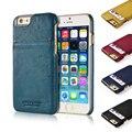 Pierre cardin cartão da carteira casos de telefone capa dura para iphone 6/6 s 4.7 'plus 5.5 polegada de luxo genuine leather case