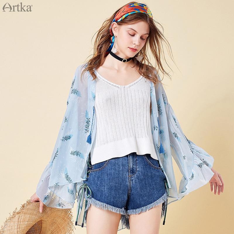ARTKA 2019 printemps femmes mince chemise impression fleur col en V lâche mode à manches longues Blouse dame vêtements WA15099C