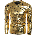 New Fashion Men T Shirt Long Sleeve Coated Metallic Gold Slim Fit V Neck T-Shirts For Men Mens Shiny Tee Shirts Punk Style H7317