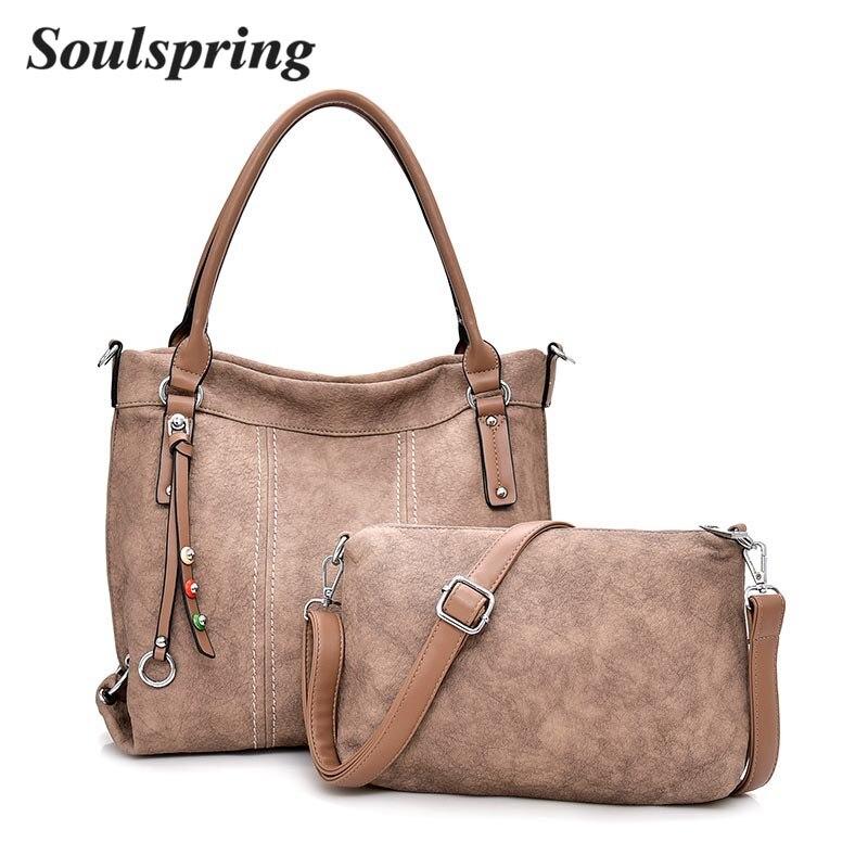 Hot Sale 2Pcs/Set Genuine Leather Women Handbags Shoulder Bag Female Large Capacity bags High Quality New Ladies Crossbody Bags