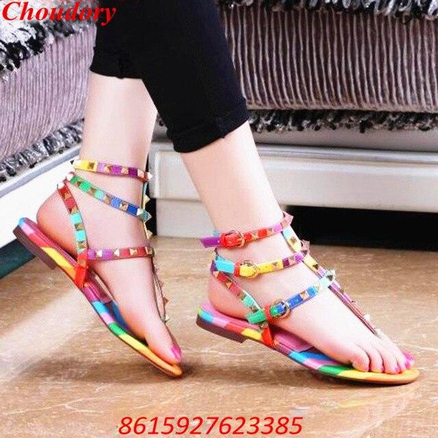 Choudory Rainbow Multi Color Rivets Gladiator Flat Sandals Studded T-strap Flip  Flops Sandal Big Size 43 Women s Shoes Summer 7c99270d4df6
