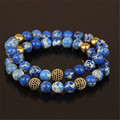 High quality charm gold microscope beads men bracelet natural 8mm regalite stone beads women bracelet