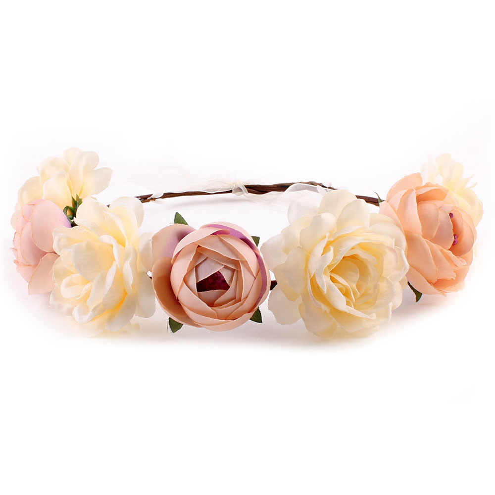 Bohemias flor Floral diadema para mujer diadema para fiesta boda novia playa tocado adorno accesorios para el cabello