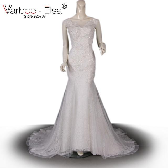 VARBOO_ELSA Elegante Robe Dubai Weiß Spitze Hochzeitskleid 2018 ...