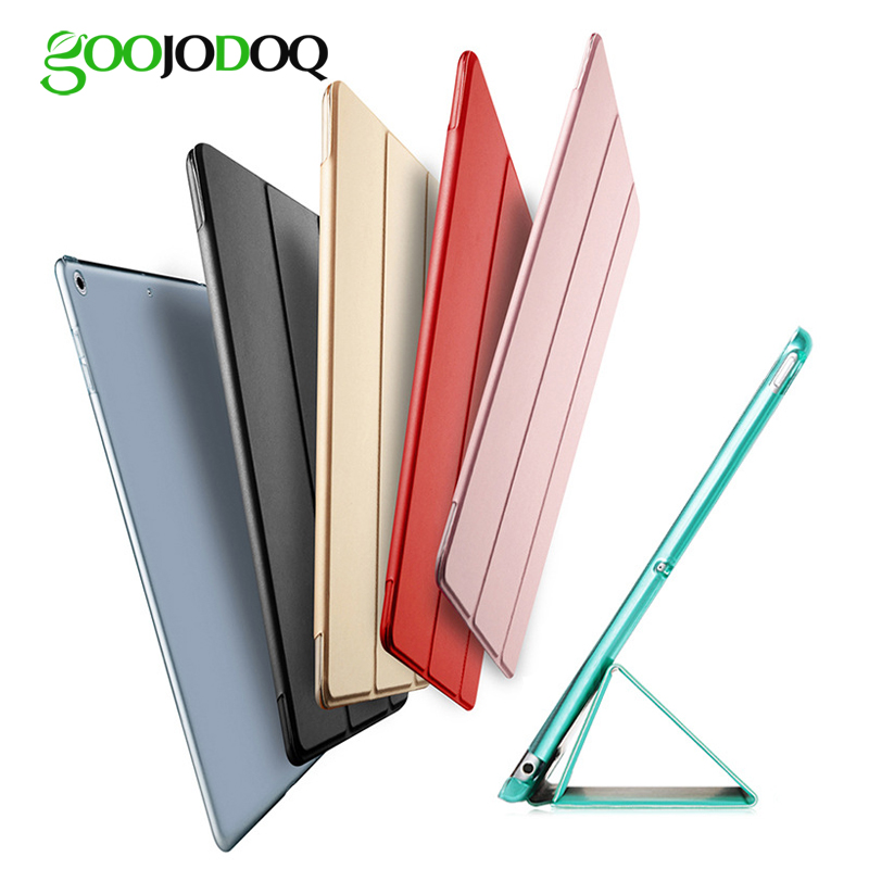 Para o ipad 2018 case 9.7 luz pu leather + pc transparente de volta duro smart cover para ipad 2018 case 9.7 2017 caso a1893 a1954