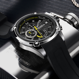 Image 3 - MEGIR Fashion Men Watch Top Brand Luxury Chronograph Waterproof Sport Mens Watches Silicone Automatic Date Military Wristwatch