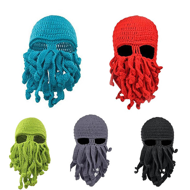 New Creative Unisex Octopus Winter Warm Handmade Knitted Wool Face Mask Hat  Squid Cap Cthulhu Tentacles Beanie Hats fee1d8d2e34