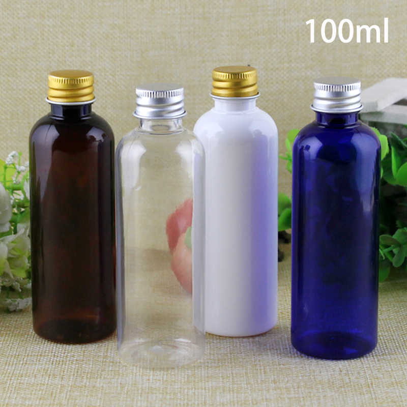 Empty 100ml Plastic Bottle for Cosmetic Essential Oil Container Lotion Cream Packing Bottles White Brown Blue Free Shipping