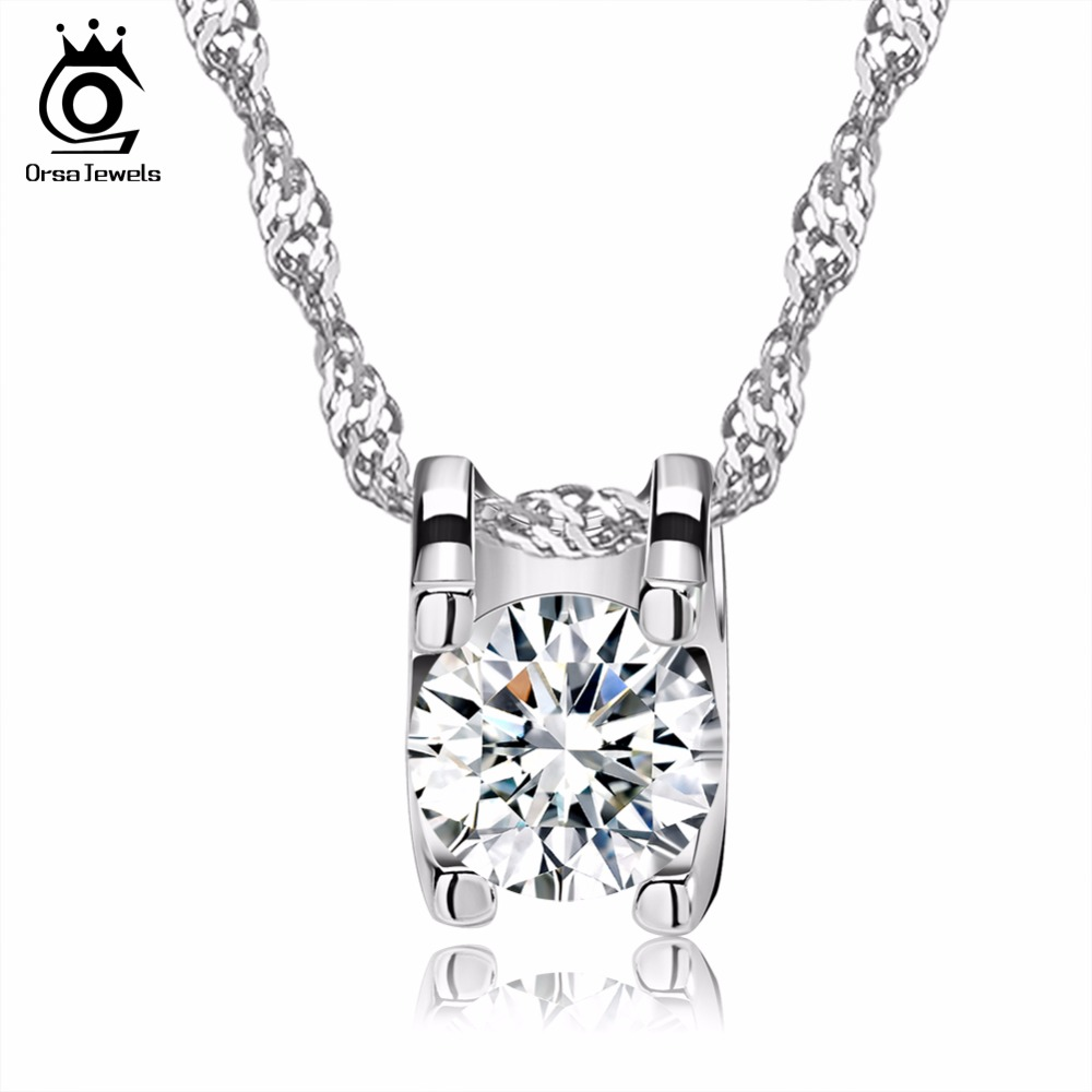 ORSA JEWELS Elegant Square Pendant with Brilliant Heart and Arrow Cut Clear CZ Popular Zircon Pendant Necklaces for Women ON05