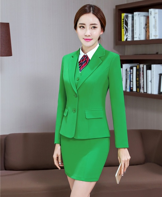 Formal Hijau Blazer Wanita Setelan Bisnis dengan 3 Piece Rompi 95158fccf3