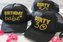 d3556fd30ff9a personalized text glitter 30th Birthday babe squad dirty thirty Mesh  Trucker Snapback trucker hats caps party favors