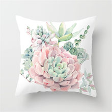 Throw Pillow Case Succulent Plants Printed Cushion Cover for Couch Sofa Bed TB Sale(China)